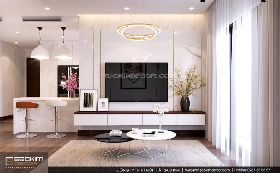Thiết kế phòng khách chung cư 80m2 6TH Element