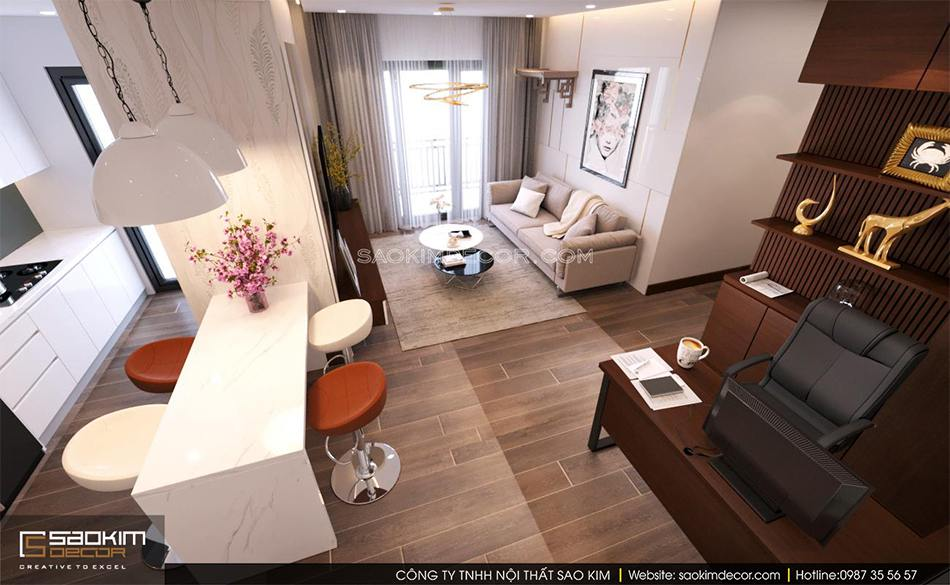 Thiết kế nội thất chung cư 80m2 6TH Element với không gian mở giữa phòng khách, phồng bếp và bàn làm việc