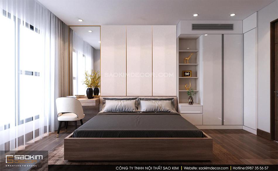 Thiết kế phòng ngủ master chung cư 80m2 6TH Element