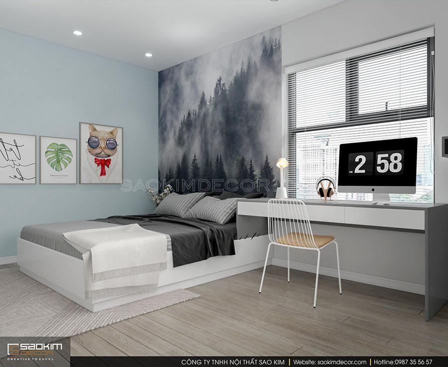 Thiết kế nội thất phòng ngủ bé trai chung cư 91m2 Samsora Premier 105