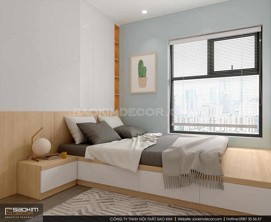 Thiết kế nội thất phòng ngủ 3 chung cư 91m2 Samsora Premier 105