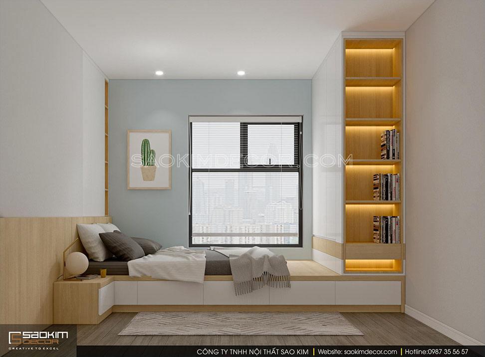 Thiết kế nội thất phòng ngủ 3 chung cư 91m2