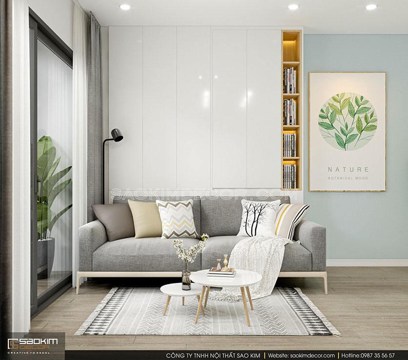 Thiết kế nội thất chung cư hiện đại tối giản Samsora Premier