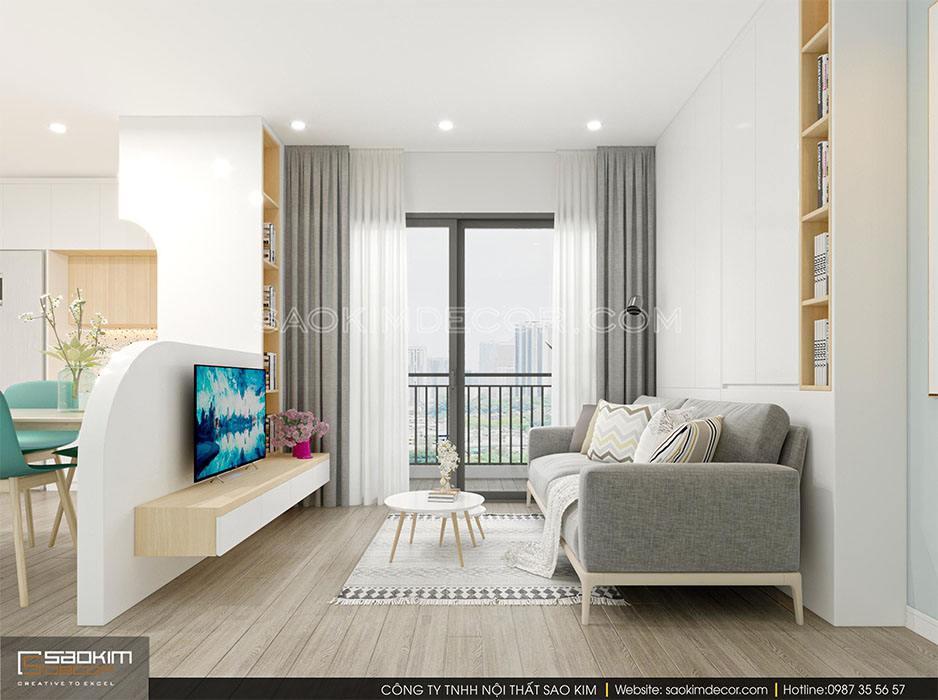 Thiết kế nội thất phòng khách chung cư theo phong cách hiện đại tối giản Samsora Premier 105