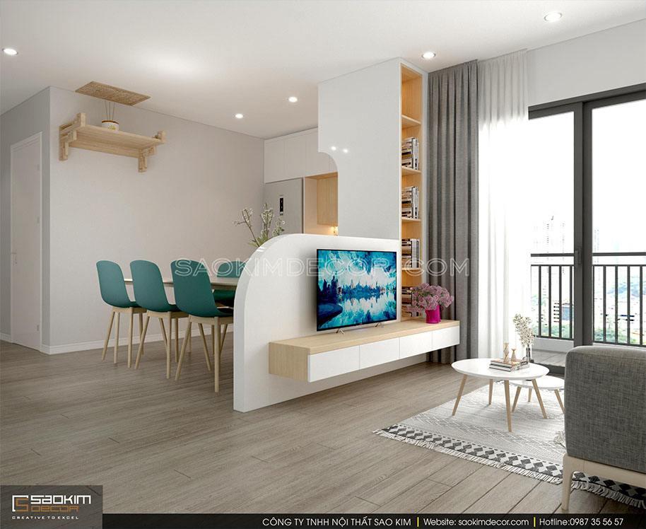 Thiết kế nội thất phòng khách chung cư 91m2 theo phong cách tối giản