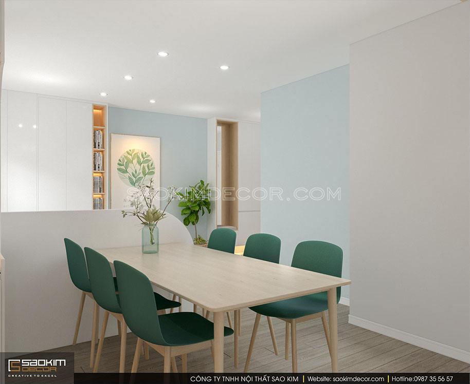 Thiết kế nội thất phòng ăn chung cư 91m2 Samsora Premier 105