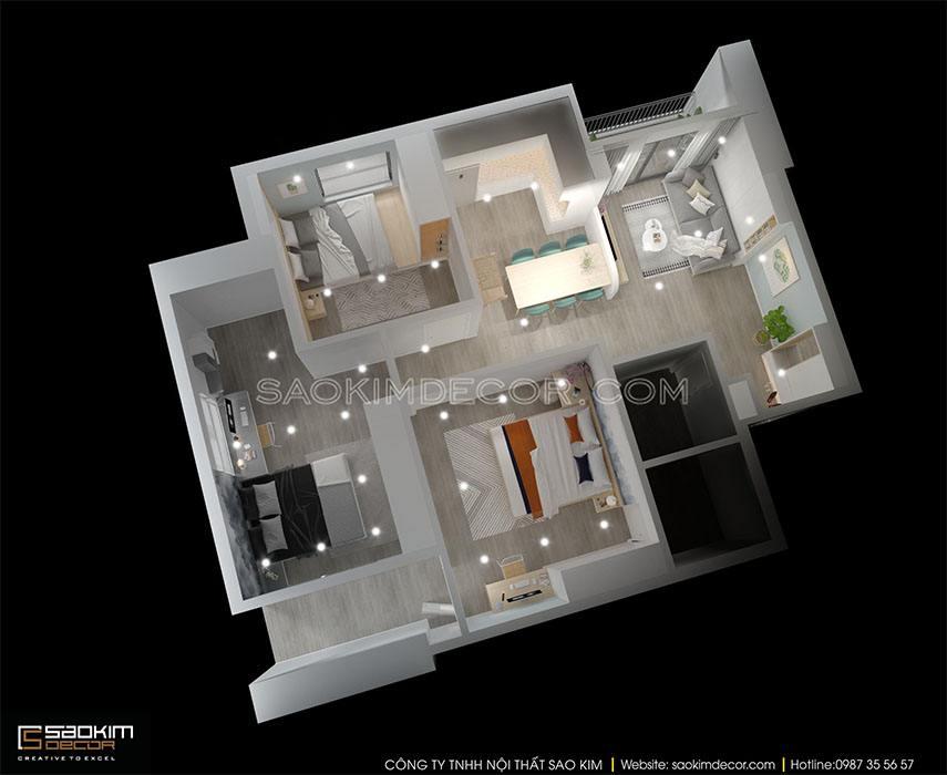 Mặt bằng 3D thiết kế chung cư Samsora Premier 105 diện tích 91m2