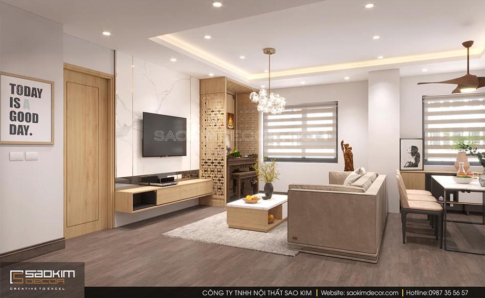 Thiết kế nội thất phòng khách chung cư 100m2 CT1-2 Mễ Trì