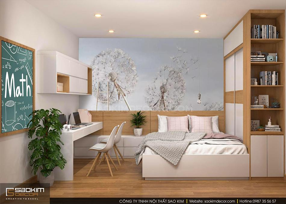 Thiết kế phòng ngủ bé gái chung cư 100m2 CT1-2 Mễ Trì