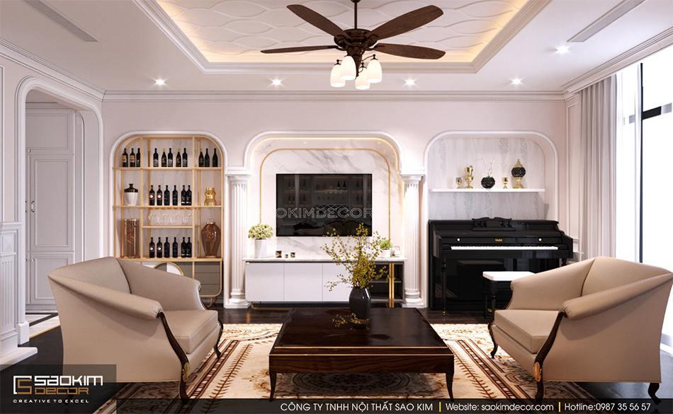 Thiết kế phòng khách với tone màu kem làm chủ đạo