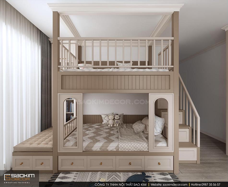 Thiết kế phòng ngủ cho bé theo phong cách tân cổ điển