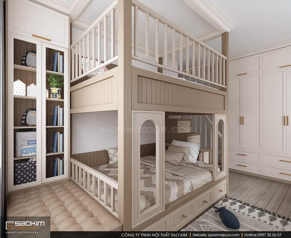 Thiết kế các tủ đồ áp sát tường nhằm tối ưu không gian phòng ngủ cho bé