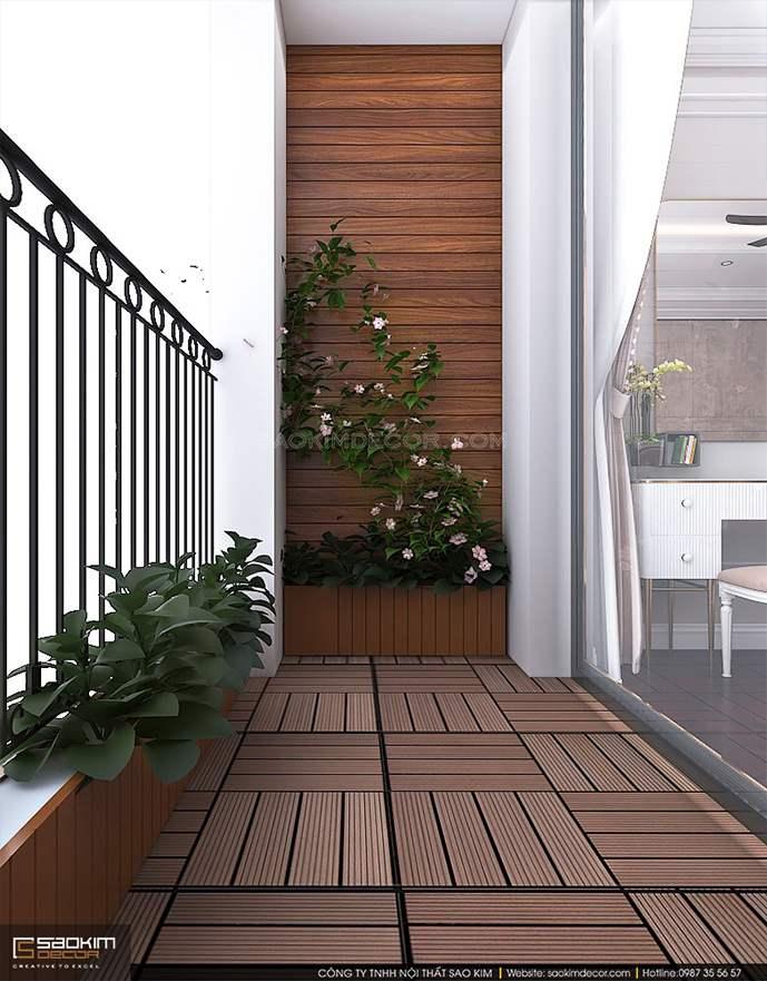 Thiết kế ban công thông thoáng và đặt nhiều cây xanh