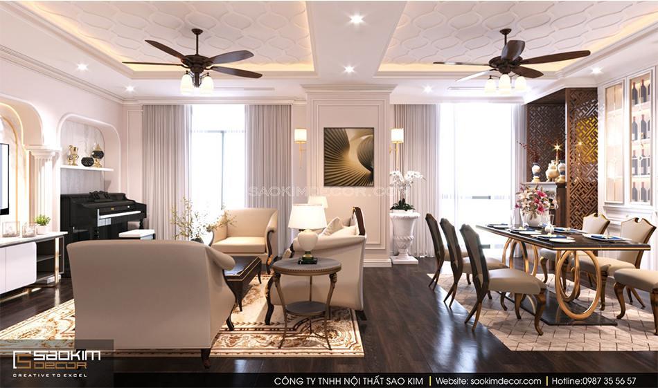 Thiết kế nội thất chung cư tân cổ điển sang trọng, tinh tế