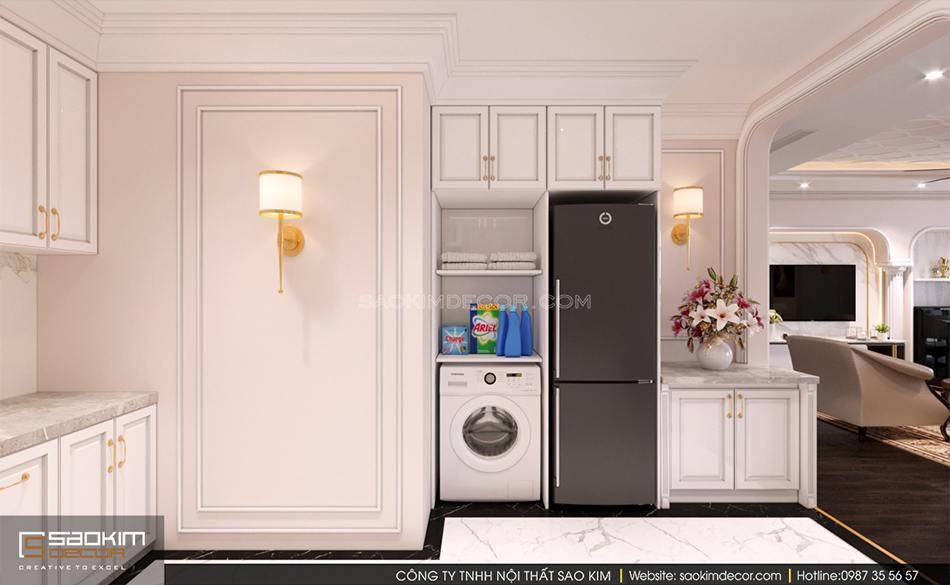 Không gian phòng bếp rộng thoáng, tiện nghi