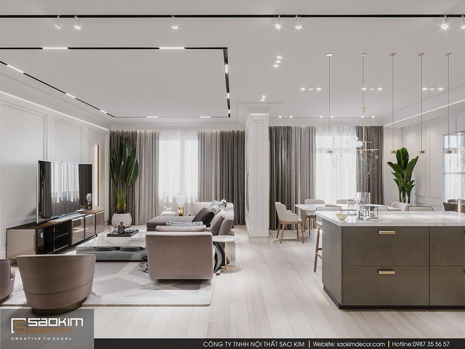 Thiết kế phòng khách đẹp chung cư cao cấp Imperia Garden