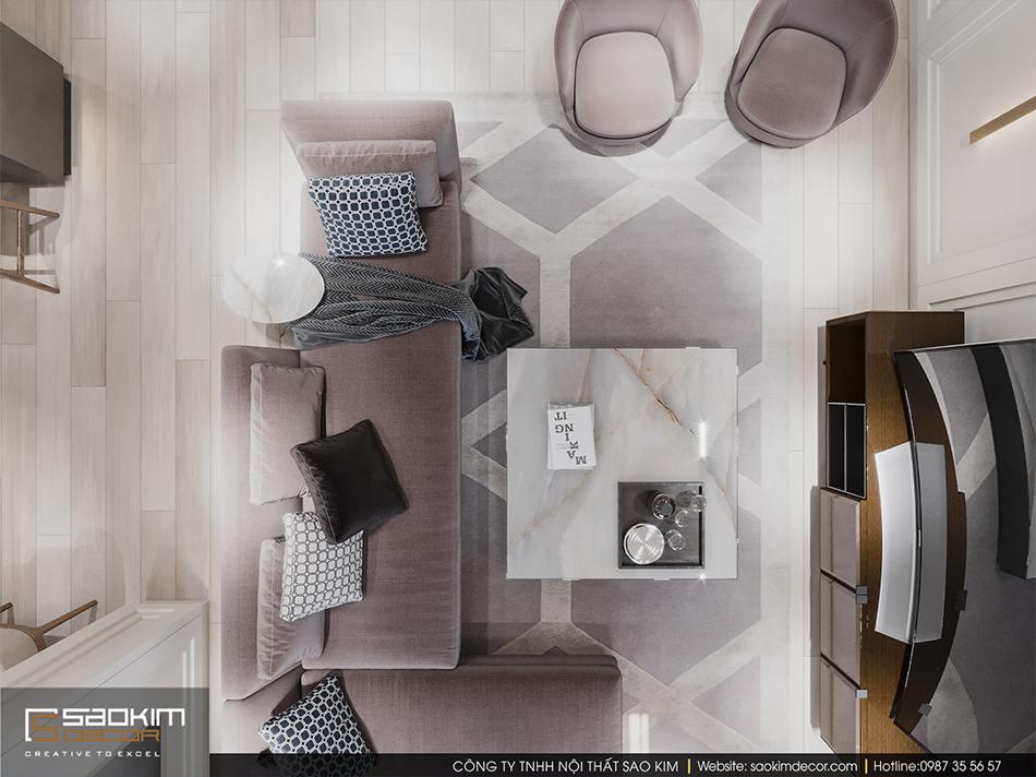 Thiết kế nội thất phòng khách đẹp chung cư cao cấp Imperia Garden