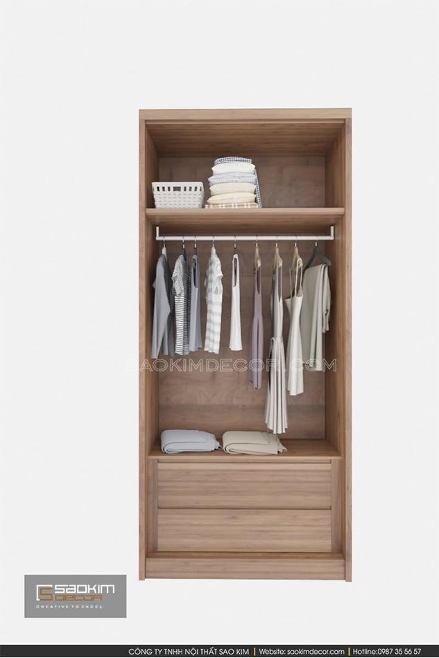 Lựa chọn tủ quần áo 2 cánh trong thiết kế nội thất nhà phố
