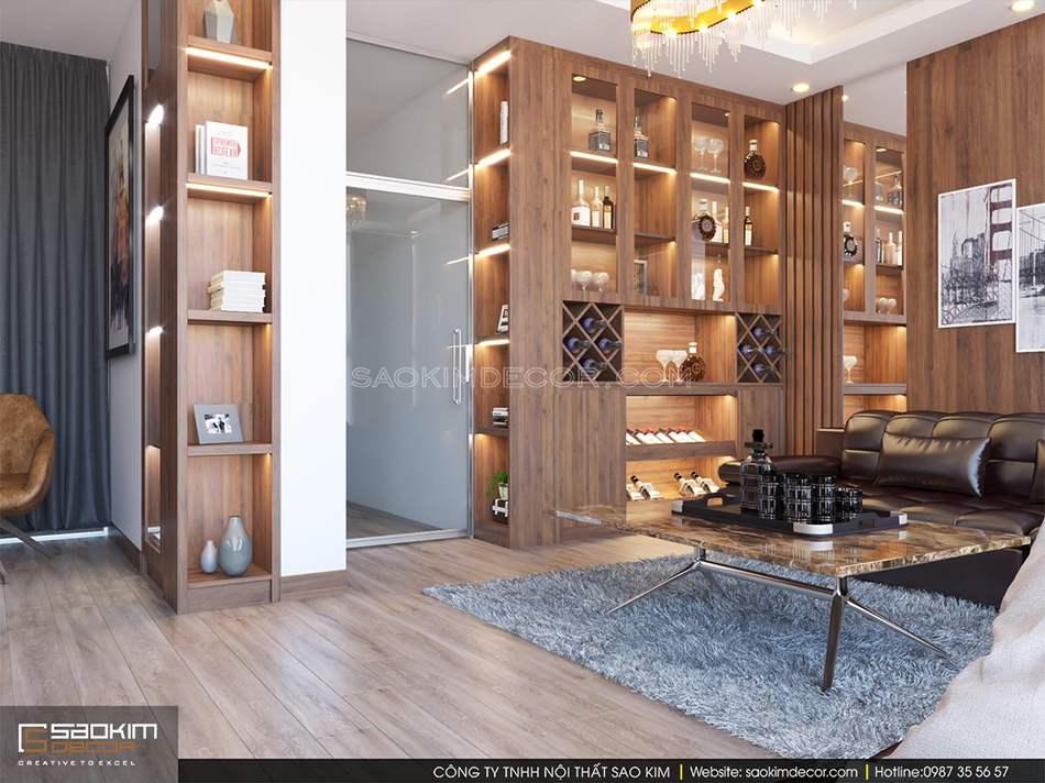 Thiết kế nội thất phòng khách nhà phố hiện đại, sang trọng