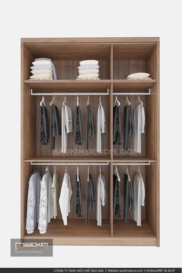 Thiết kế tủ quần áo 3 ngăm bằng gỗ với đầy đủ công năng