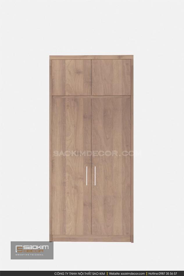 Thiết kế tủ quần áo 2 cánh đơn giản, nhỏ gọn