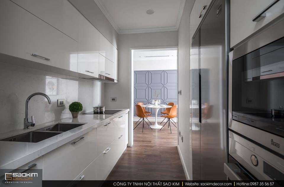 Thiết kế và thi công phòng bếp chung cư 83m2 Golden West Lê Văn Thiêm