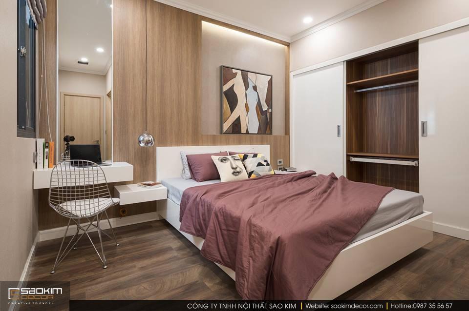 Thiết kế và thi công phòng ngủ master chung cư 83m2 Golden West Lê Văn Thiêm