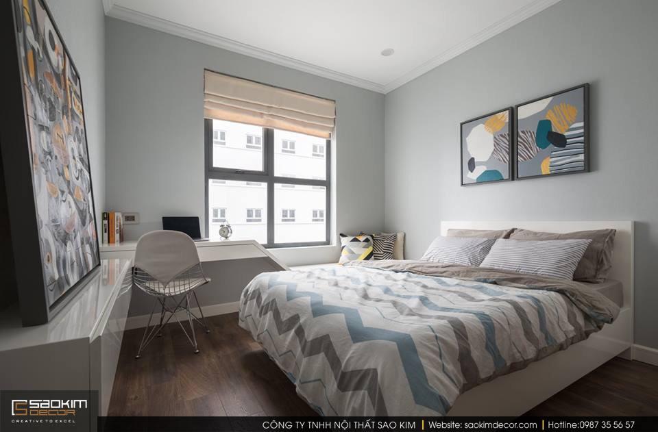 Thiết kế và thi công phòng ngủ 2 chung cư 83m2 Golden West Lê Văn Thiêm