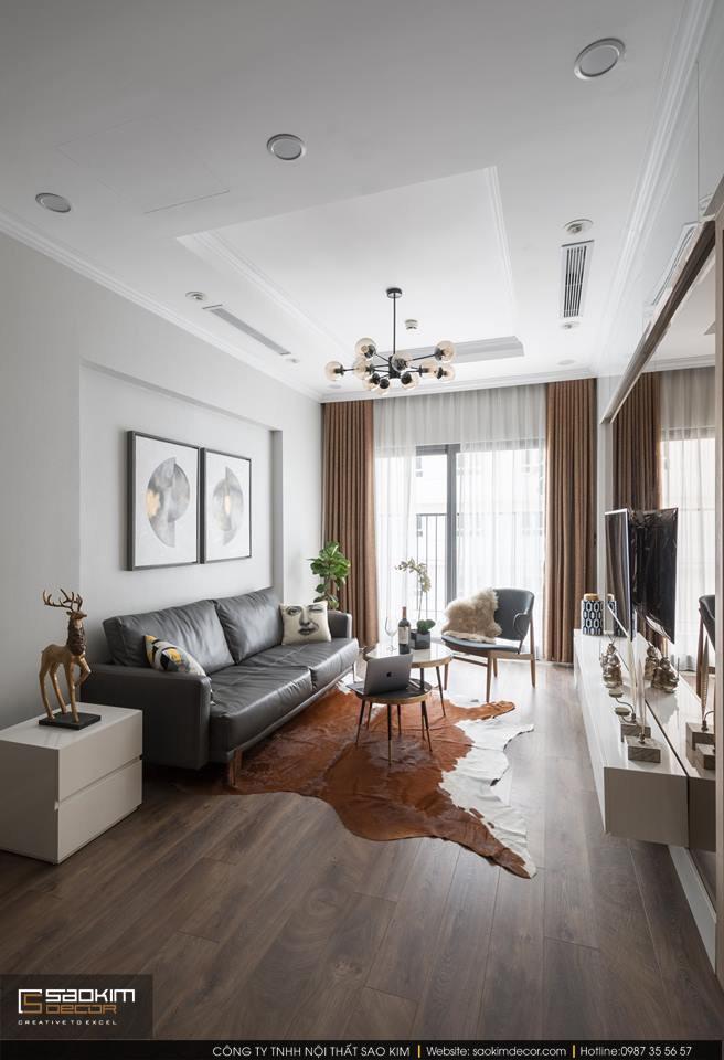 Thiết kế và thi công phòng khách chung cư 83m2 Golden West Lê Văn Thiêm