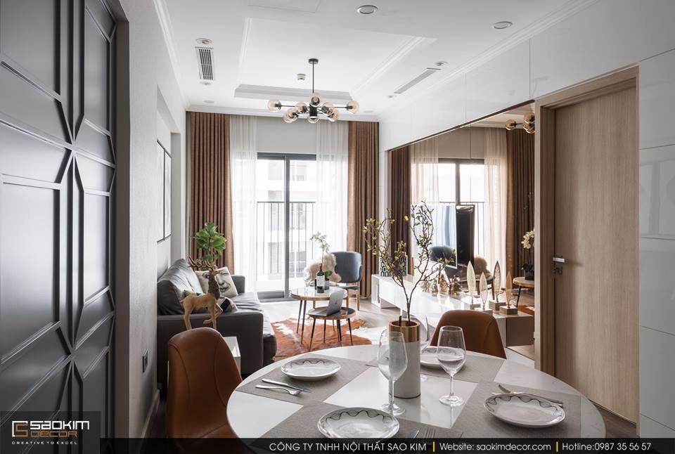 Thiết kế và thi công phòng khách chung cư 83m2