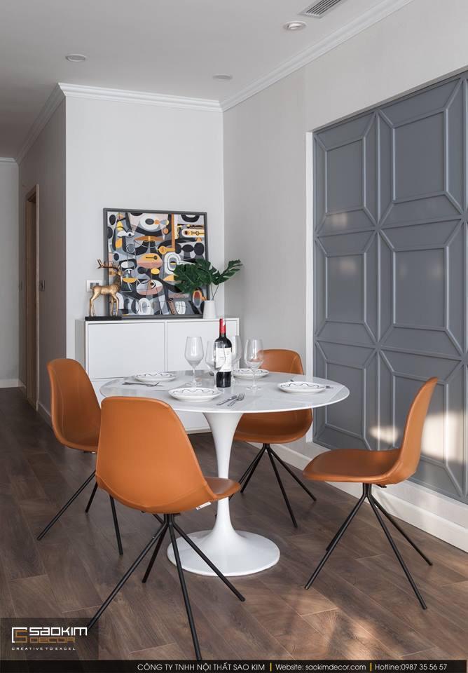 Thiết kế và thi công phòng ăn chung cư 83m2 Golden West Lê Văn Thiêm