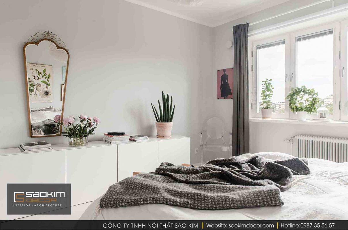Thiết kế và thi công nội thất phòng ngủ chung cư Vinhome Gardenia theo phong cách Scandinavian (Bắc Âu)