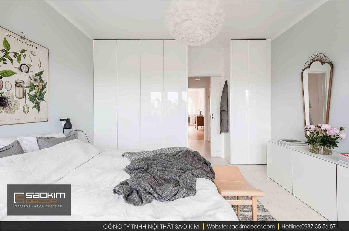Thiết kế và thi công nội thất phòng ngủ chung cư theo phong cách Scandinavian (Bắc Âu)