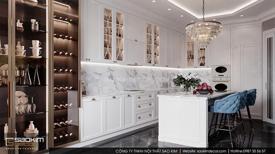 Thiết kế nội thất biệt thự có bể bơi trong nhà - phòng bếp