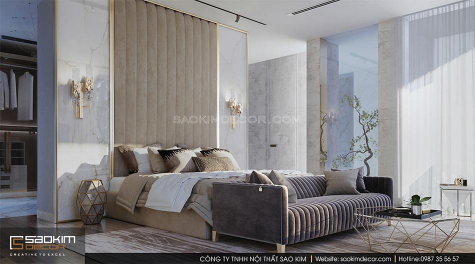 Thiết kế nội thất biệt thự có bể bơi trong nhà - phòng ngủ master