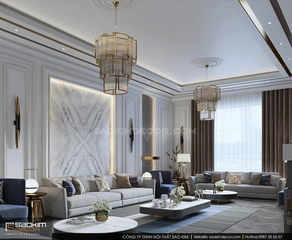 Thiết kế nội thất biết thự có bể bơi trong nhà - phòng khách