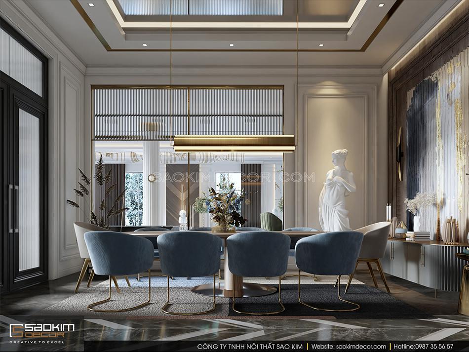 Thiết kế nội thất biệt thự có bể bơi trong nhà - phòng ăn