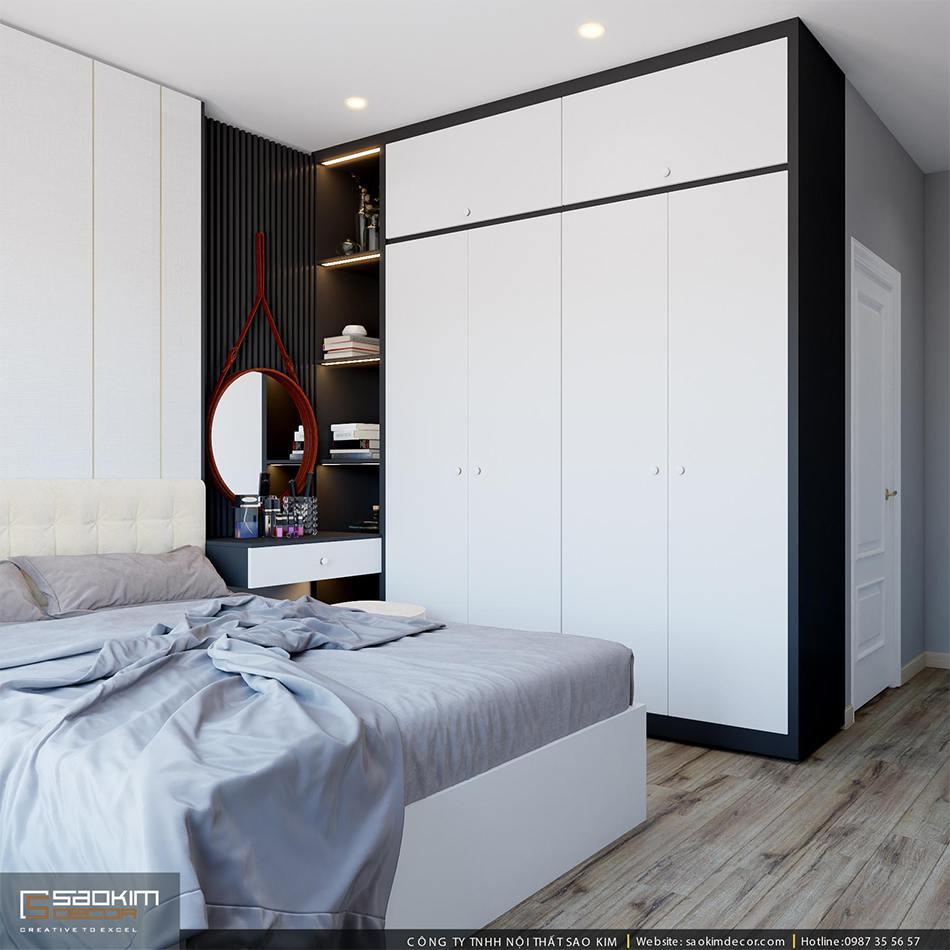 Thiết kế phòng ngủ chung cư 80m2 theo phong cách hiên đại