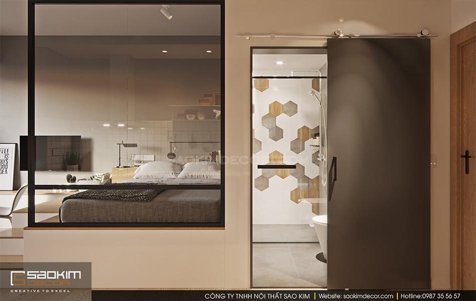 Nhà tắm được bố trí 2 lớp cửa bao gồm lớp cửa kính và 1 lớp cửa kéo bên ngoài. Lớp cửa kính bên trong nhằm đảm bảo nước không bị tràn ra ngoài.