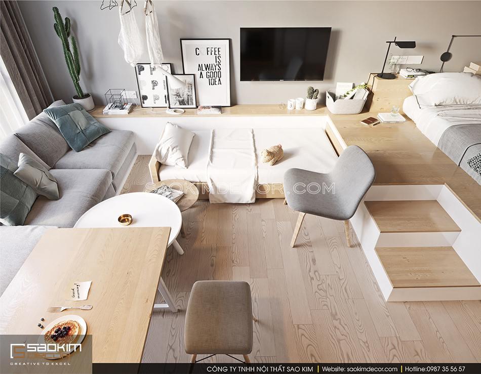 Một chiếc giường ngủ nhỏ cho bé cùng bộ sofa tiếp khách được bố trí khéo léo trong không gian nhỏ