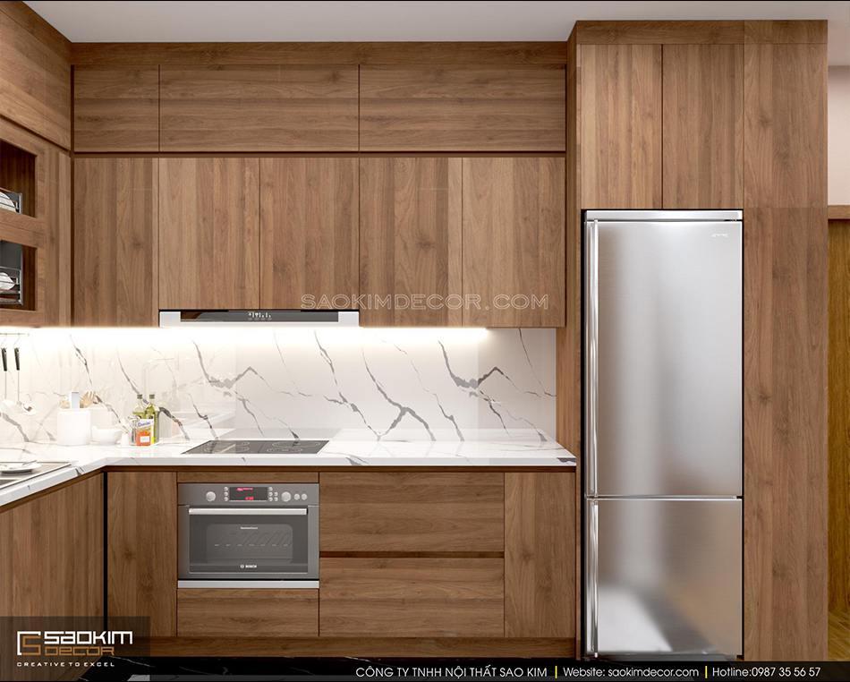 Thiết kế phòng bếp chung cư 70m2 đẹp - căn hộ FLC Đại Mỗ theo phong cách hiện đại