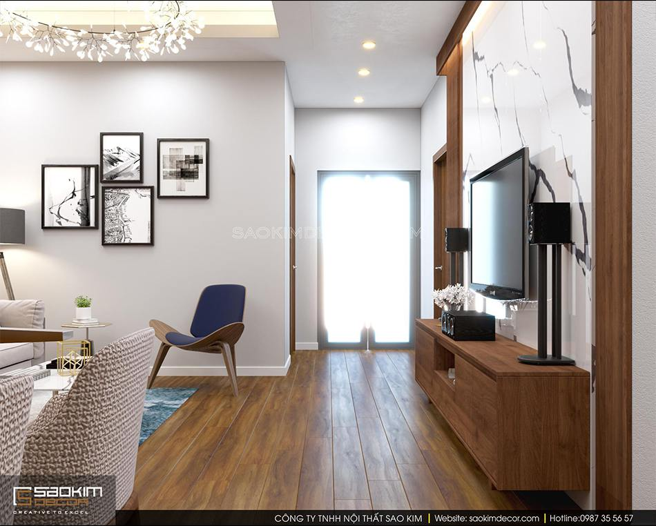 Thiết kế phòng khách chung cư 70m2 đẹp - căn hộ FLC Garden City mang phong cách hiện đại