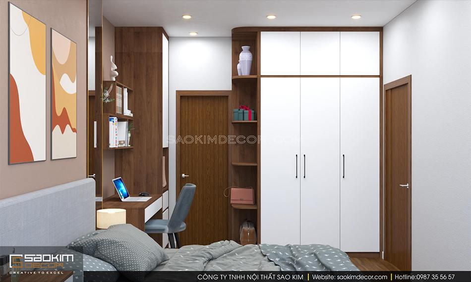 Thiết kế phòng ngủ chung cư 70m2 đẹp - căn hộ FLC Garden City