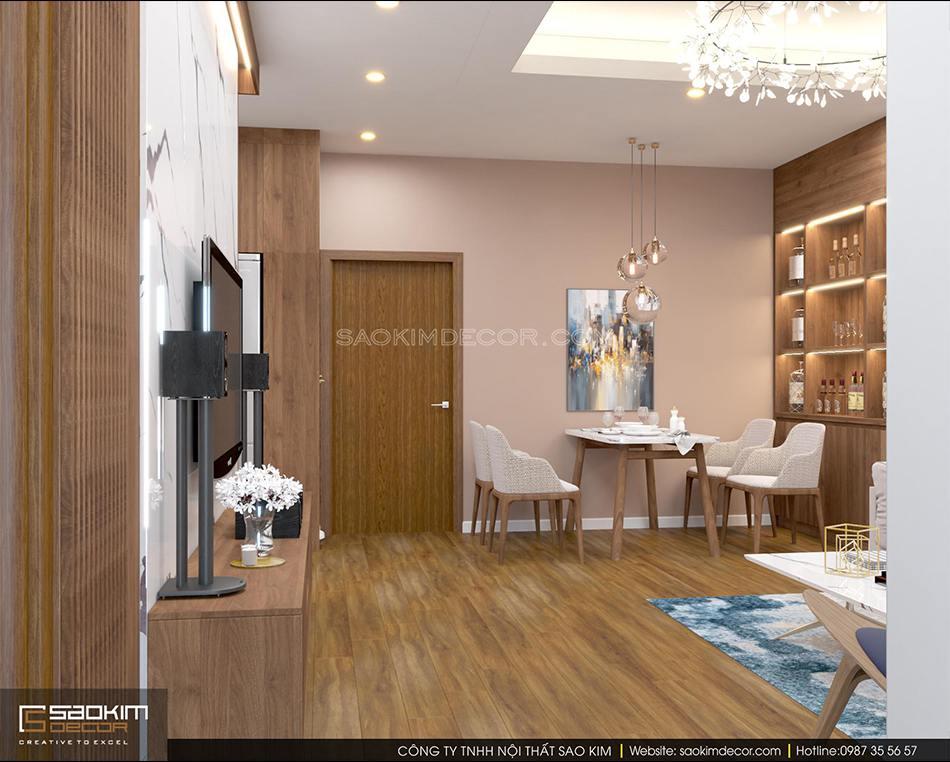 Thiết kế phòng khách với không gian mở với phòng ăn căn hộ chung cư FLC Garden City