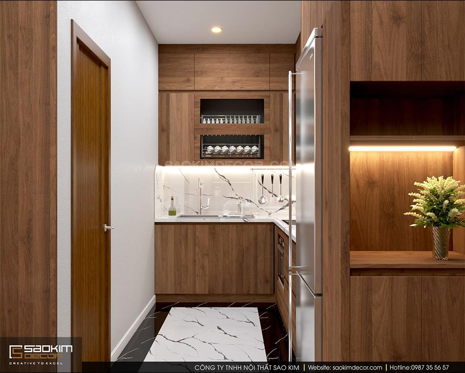Thiết kế phòng bếp chung cư 70m2 đẹp theo phong cách hiện đại