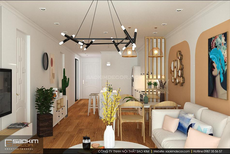 Thiết kế chung cư phong cách Đài Loan kết hợp phong cách Scandinavian căn hộ Sunshine Garden