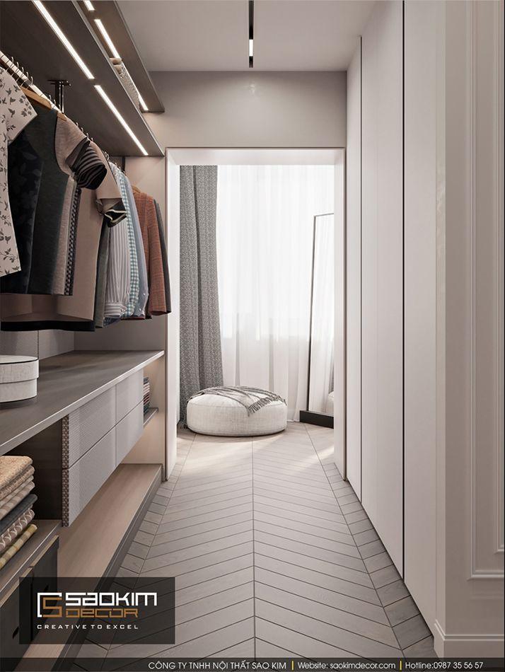 Thiết kế nội thất phòng thay đồ căn hộ Vinhome Ocean Park