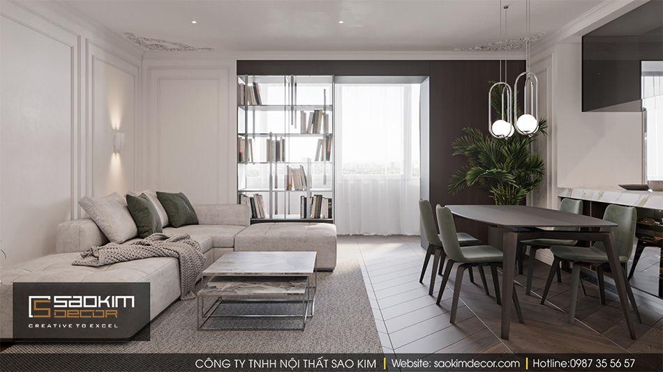 Thiết kế phòng khách căn hộ Vinhome Ocean Park