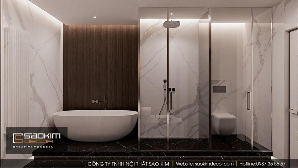 Thiết kế nội thất phòng tắm căn hộ Vinhome Ocean Park