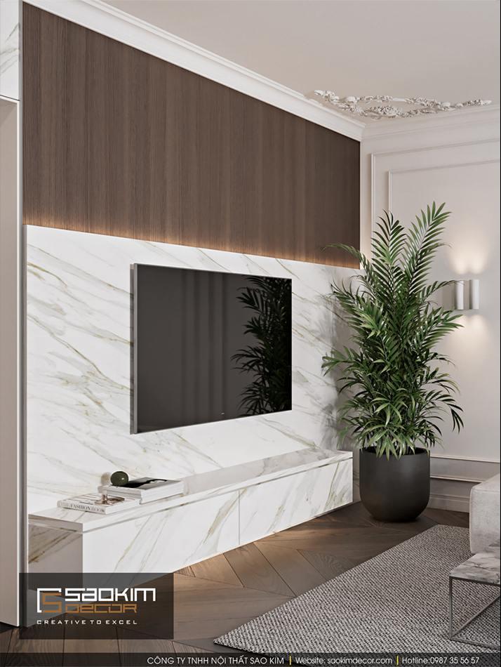 Thiết kế phòng khách căn hộ chung cư mang vẻ đẹp thanh thoát, trang nhã